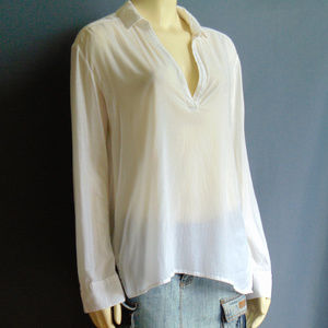 James Perse White Lightweight High Low Top L